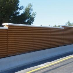 Mur anti-bruit avec granulats de bois stabilisé
